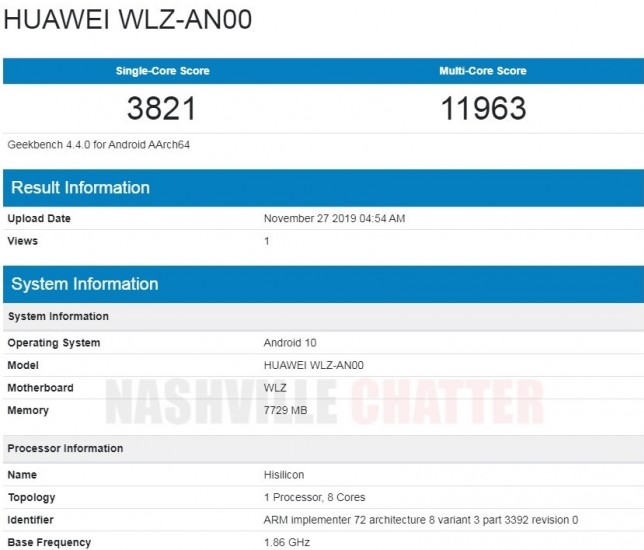 Huawei nova 6 5G passes through Geekbench revealing key specs