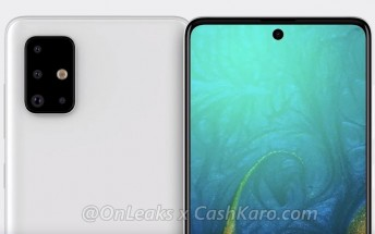 Samsung Galaxy A71 appears in renders: L-shaped quad camera and Infinity-O AMOLED display
