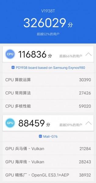 Samsung Exynos 980 AnTuTu 7 results