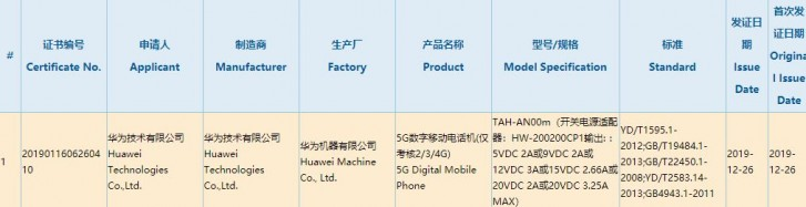Huawei Mate Xs gets 3C certification, will have 65W charging