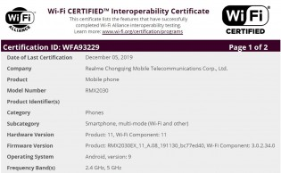 Realme 5i's Wi-Fi certification