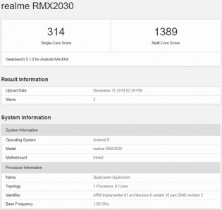 Realme 5i on Geekbench 5