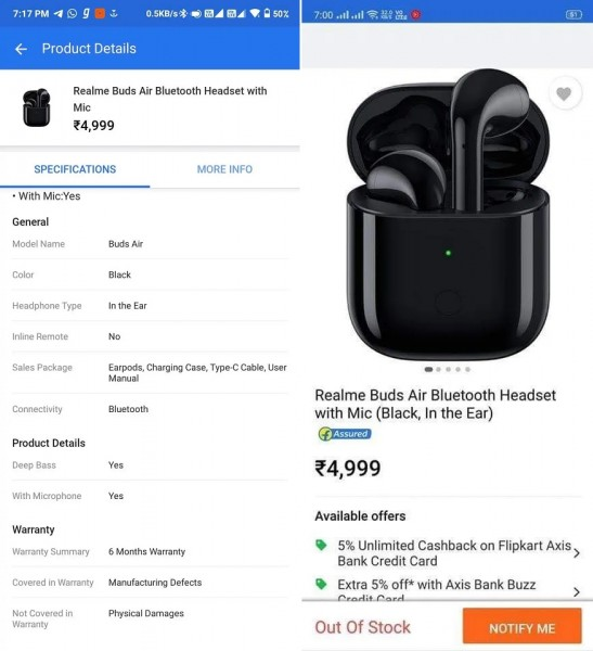 Buy Realme Buds Air Bluetooth Headset with mic (Black, In the Ear) Flipkart Listing