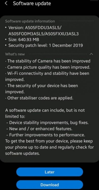Samsung pushes December update for Galaxy A50