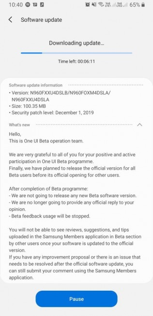 Samsung Galaxy Note9 receiving Android 10 stable update