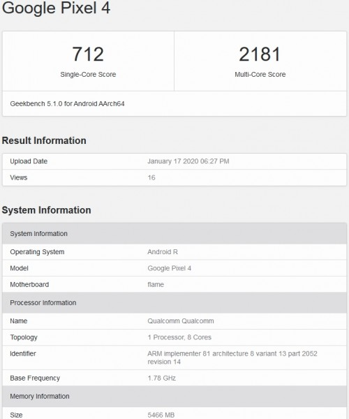GeekBench listing showing Android R