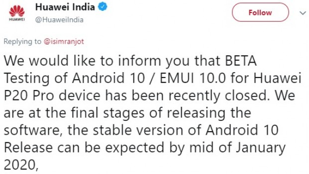 Huawei P20 Pro EMUI 10 update will roll out in India this month, Europe will get it in March