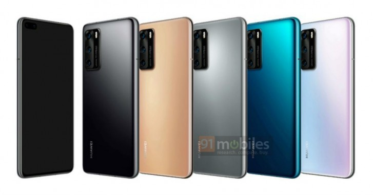 Huawei P40 in Black, Blush Gold, Silver Frost, Deep Sea Blue and Ice White