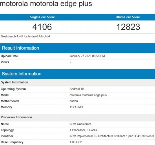 Motorola Edge+ key specs revealed by Geekbench