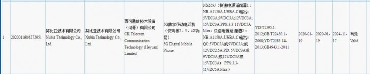 The upcoming nubia Red Magic phone spotted on 3C with 55W charger