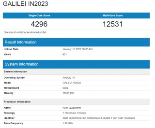 OnePlus 8 Pro (IN2023) in the Geekbench 4 database