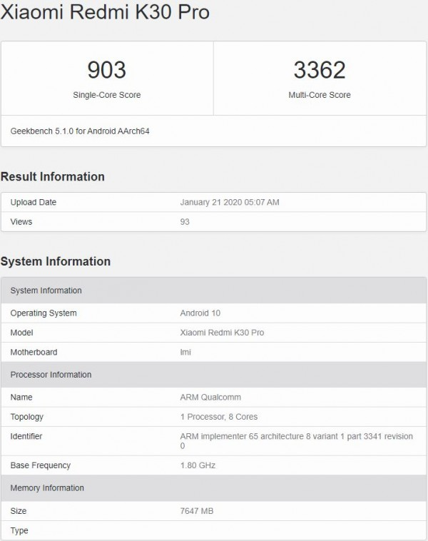 Redmi K30 Pro flexes Snapdragon 865 and 8GB of RAM on Geekbench