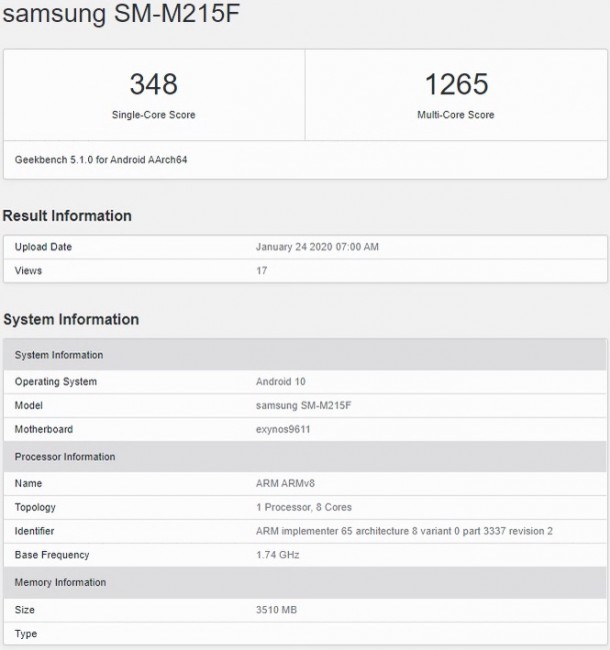 Samsung Galaxy M21 key specs confirmed by Geekbench