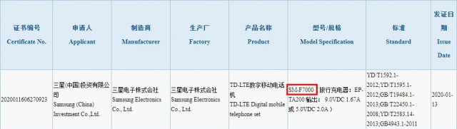 Samsung Galaxy Z Flip certification