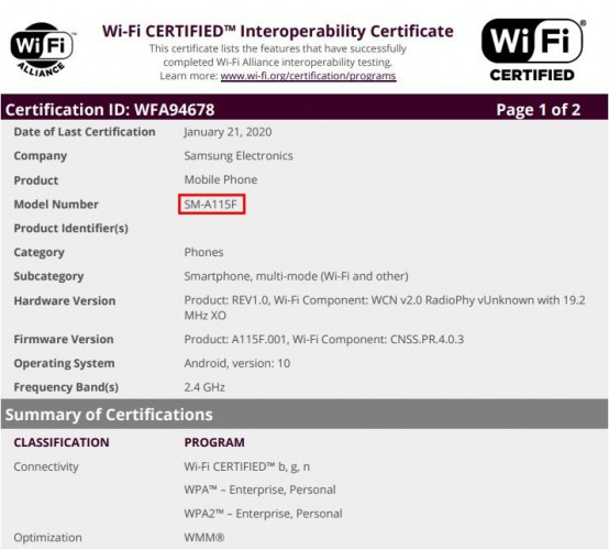 Galaxy A11 certification