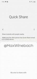 Screenshots of Samsung's Quick Share feature