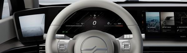 A panoramic dashboard display