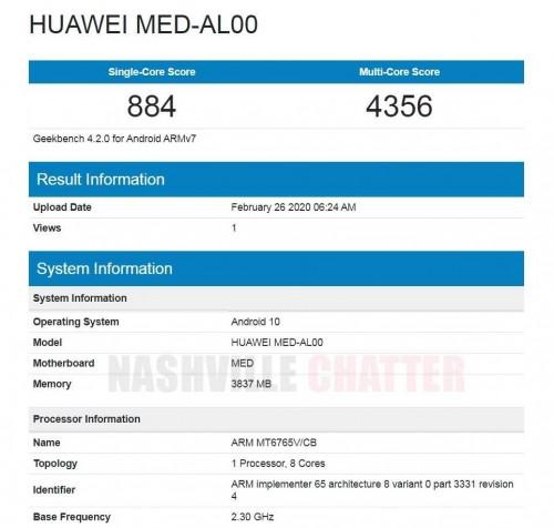 يمر هاتف Huawei مع Helio P35 و 4GB RAM من Geekbench