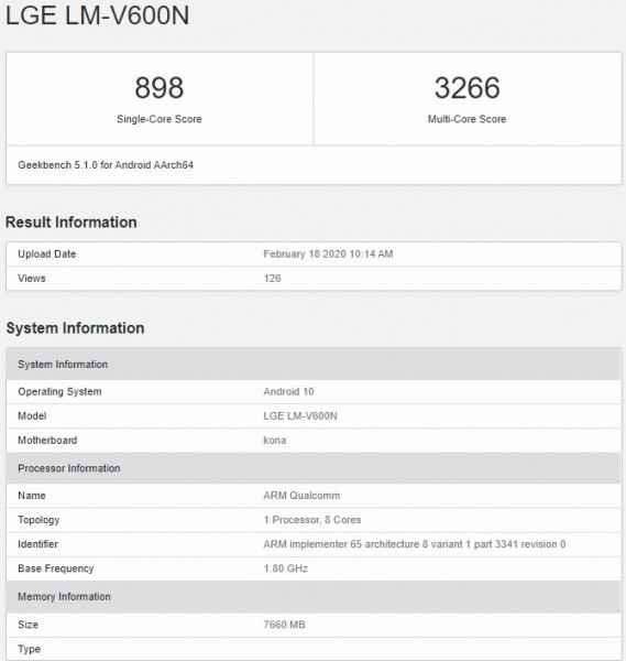 LG V60 ThinQ 5G pops up on Geekbench revealing key specs