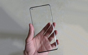 Oppo Find X2 screen protector shows pronounced curves and punch hole cutout