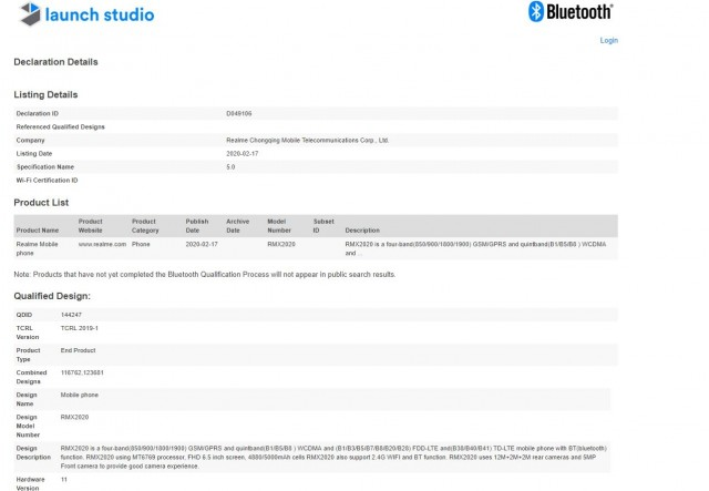 The RMX2020 certification at Bluetooth SIG