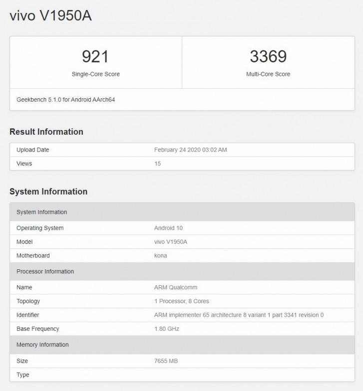 فيفو NEX 3 5G يتكبر Snapdragon 865 في Geekbench