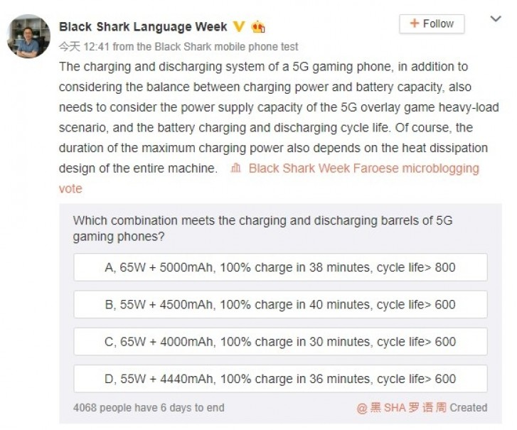 Black Shark 3 5G confirmed to have 65W charging, 5,000 mAh battery