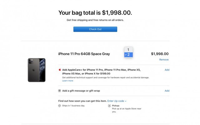 2 unit limit on Apple US page