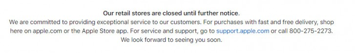 Apple stores closed until further notice