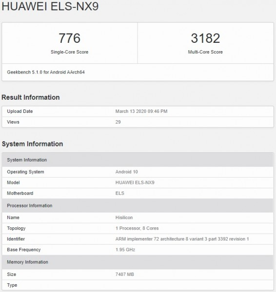 Huawei P40 Pro 5G on Geekbench 5