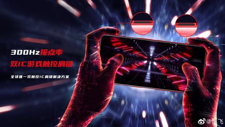 سيتباهى Red Magic 5G بأخذ العينات باللمس 300 هرتز ، ومشغلات الكتف السعوية ، وميكروفون خاص باللعبة