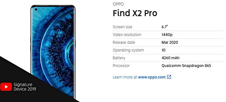 Oppo Find X2 Pro is the company's first phone to get the YouTube Signature Devices distinction