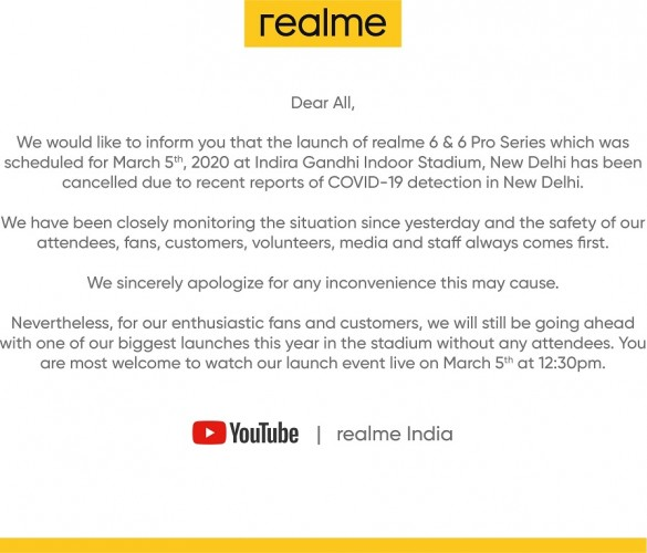 Full statement from Realme India