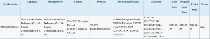 Redmi Note 9, 4G bağlantısı, 22.5W hızlı şarj desteği ile 3C'de tespit edilmiş olabilir