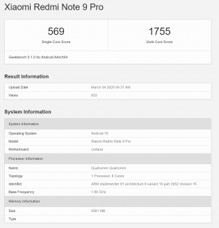 Geekbench v5.1: Redmi Note 9 Pro