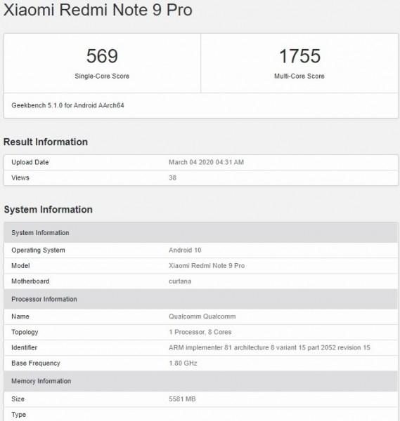 Redmi Note 9 Pro للملوثات العضوية الثابتة على Geekbench