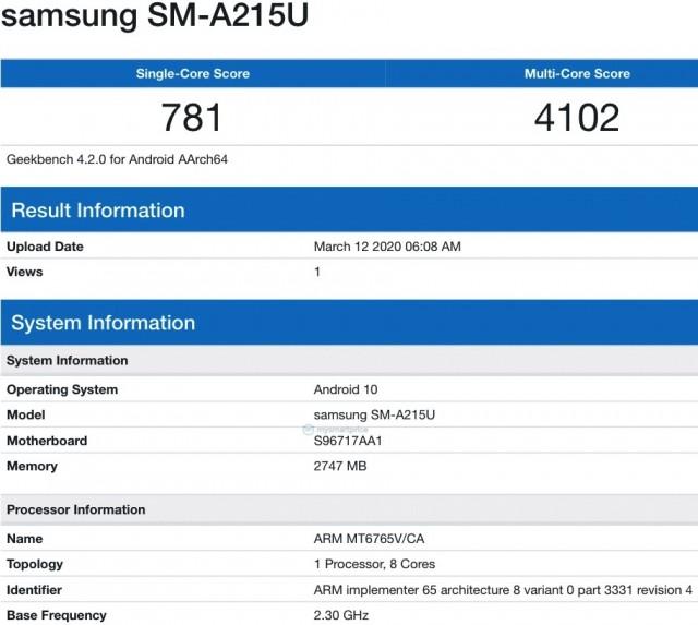 Samsung Galaxy A21 Geekbench listing