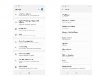 Samsung Galaxy A31 FCC listing and Settings Menu screenshot