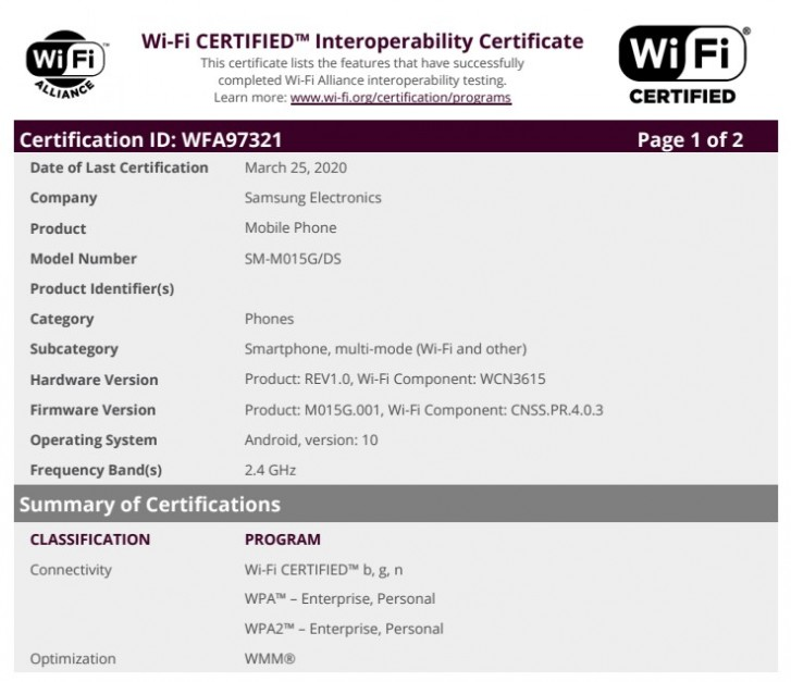 Samsung Galaxy M01 with Android 10 certified by the Wi-Fi Alliance