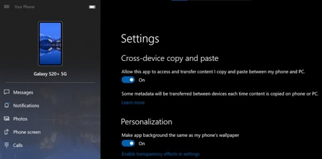 New cross-device copy and paste on PC