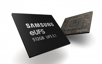 Samsung starts mass production of 512 GB eUFS 3.1