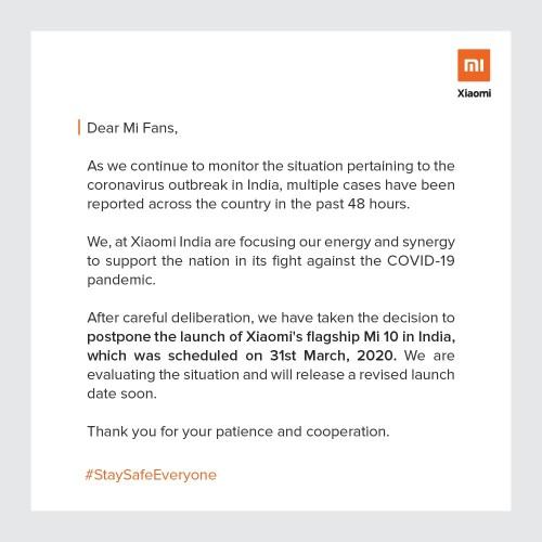 Başka bir yaralı: Xiaomi, COVID-19 nedeniyle Hindistan'da Mi 10'un lansmanını erteledi