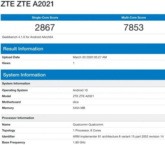 ZTE Axon 11 5G ينبثق على Geekbench
