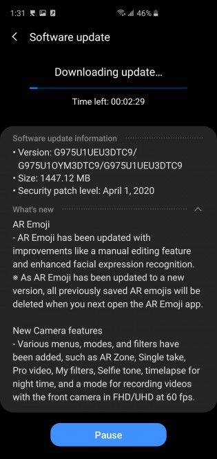 Changelogs for the Note10 and S10