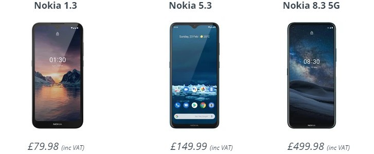 Nokia 8.3 5G, 5.3 and 1.3 are now available for pre-order in the UK