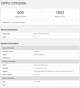 Oppo Reno3 Pro 5G at Geekbench