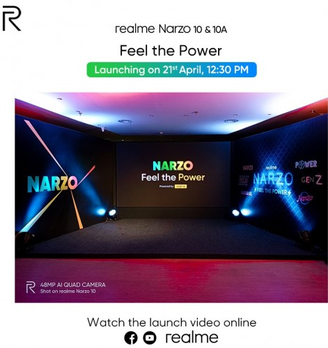 Realme Narzo 10 and 10A will be unveiled on April 21