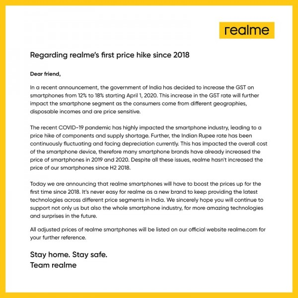 Realme smartphones get costlier in India after GST increase