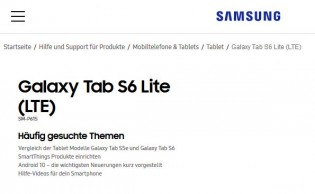 Samsung Galaxy Tab S6 Lite support pages