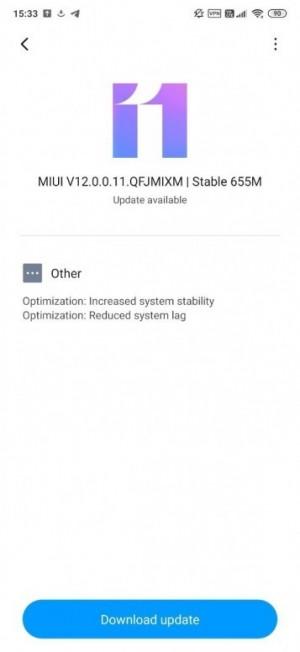 A screenshot of the update